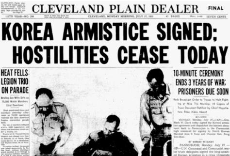 Перша шпальта газети з новиною про підписання корейського перемир'я 27 липня 1953 року