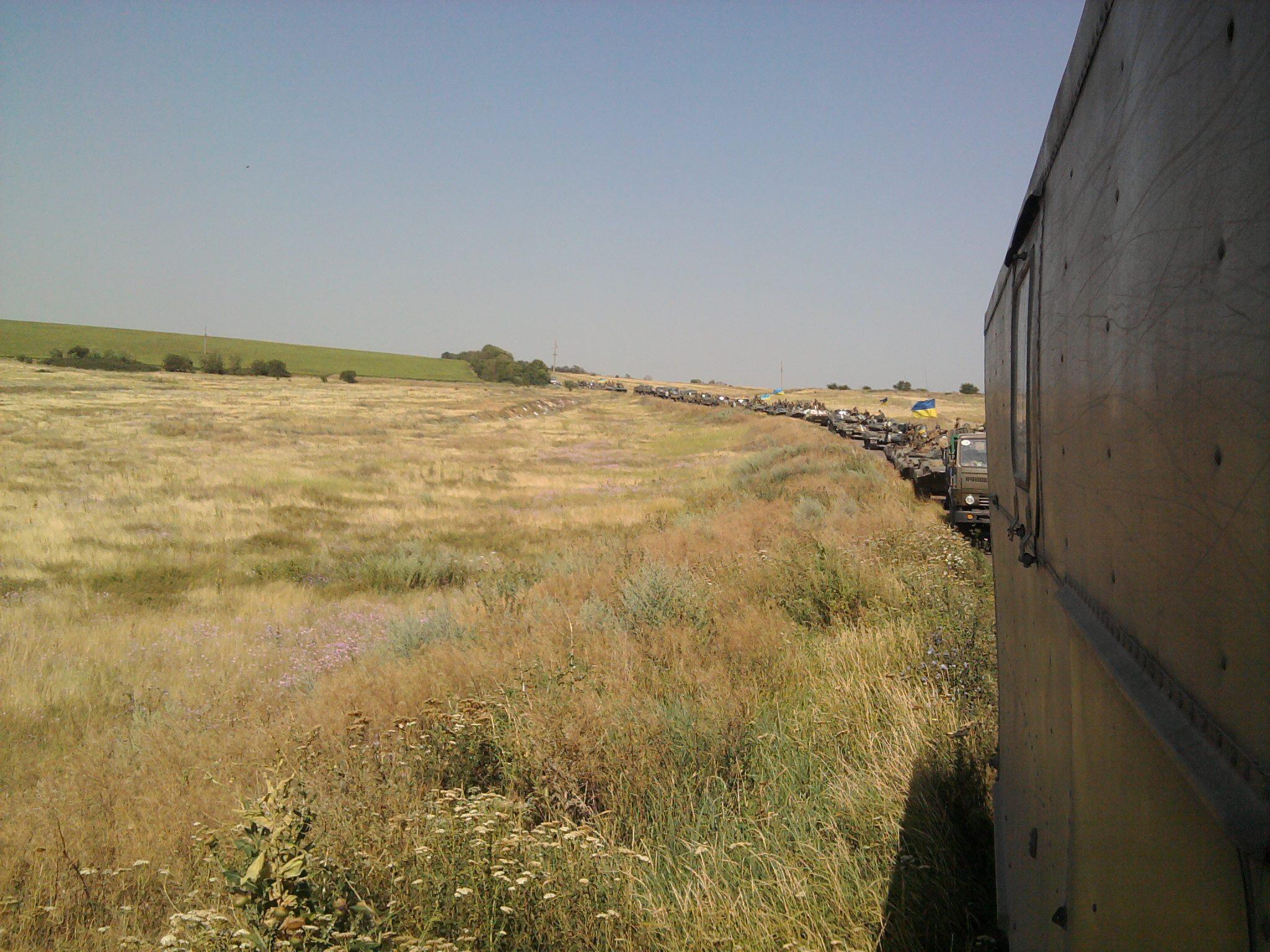 Колона 51-ї бригади на дорозі до Савур-Могили
