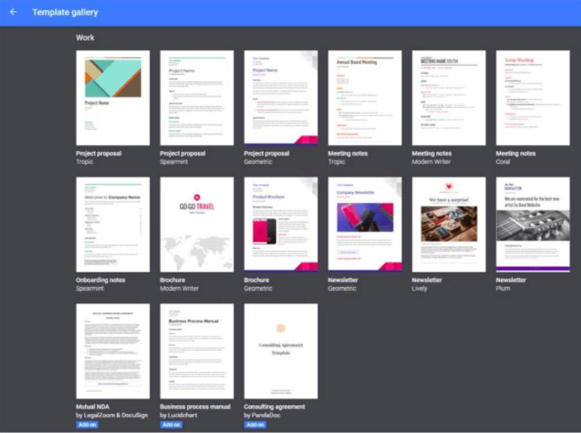 Галерея шаблонів Гугл Документів