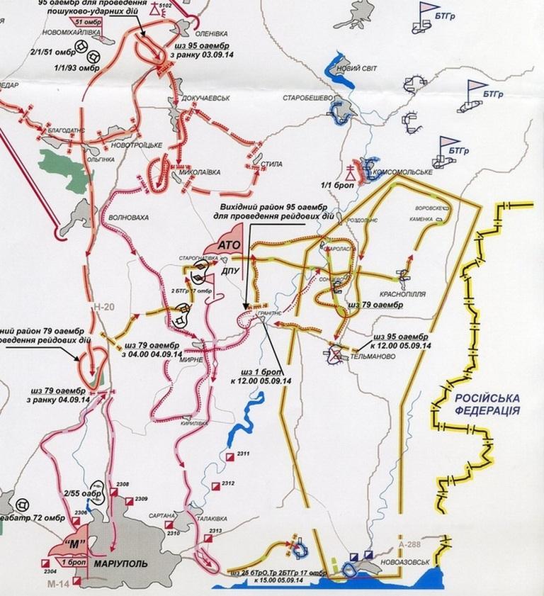 Карта бойових дій на маріупольскому напрямку, початок вересня 2014 р.