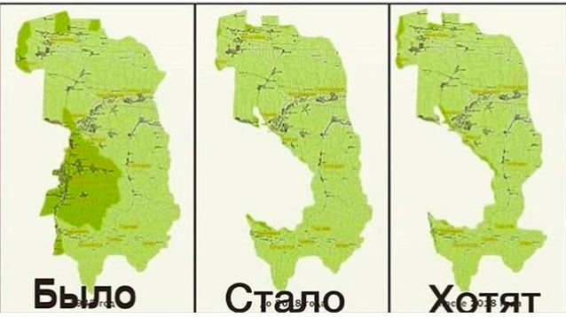 Мапа втрат земель Інгушетії, яку розповсюджують протестуючі. Джерело: NeilHauer / @NeilPHauer on twitter
