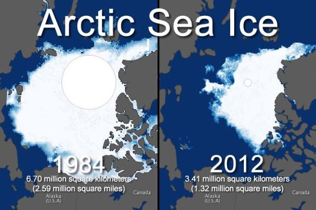 За 28 років між 1984 і 2012 у Арктиці площа льоду зменшилася на 3,29 мільйонів квадратних кілометрів