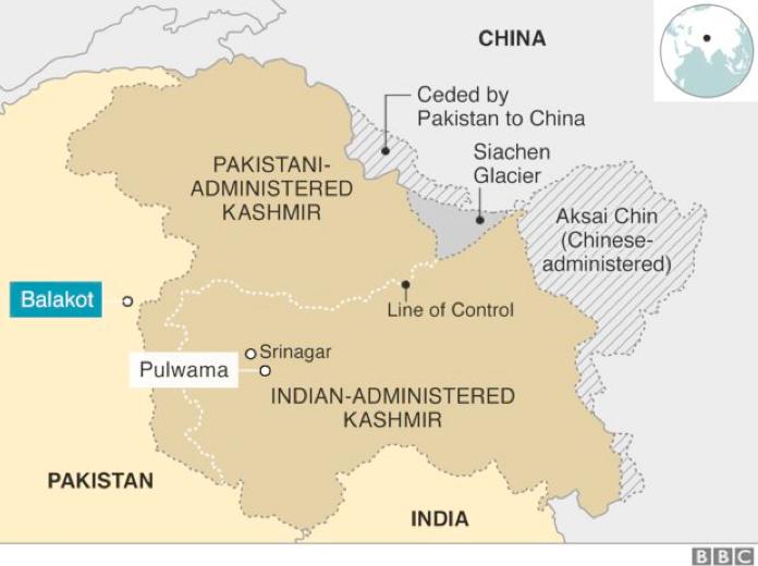 Мапа ситуації у Кашмірі. Джерело: BBC