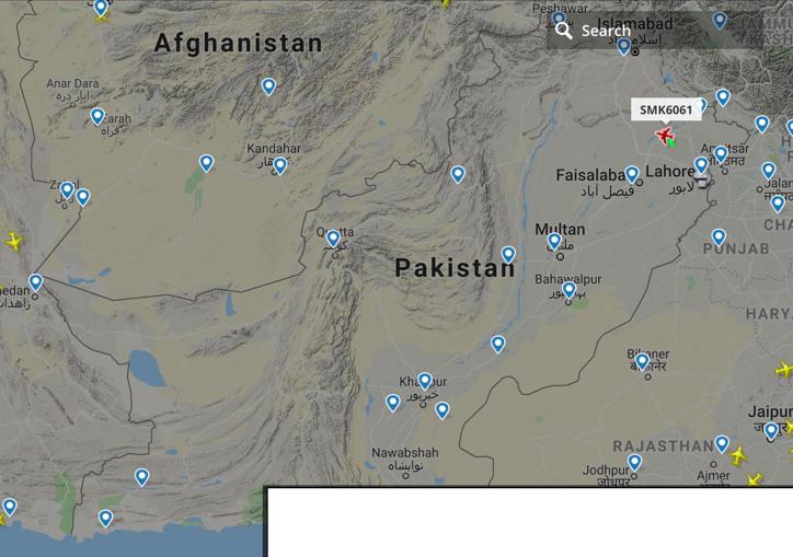«Закрите небо» над Пакистаном. Джерело: Julian Röpcke / @JulianRoepcke on twitter.com