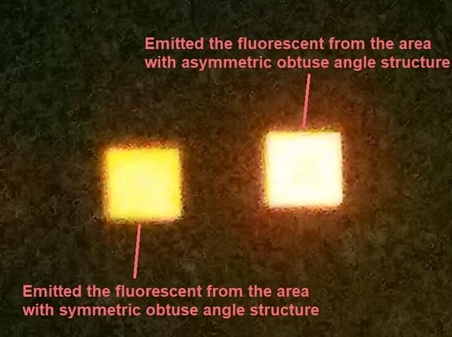 """Зліва-мікроскопічний світлодіод з покриттям з симетричних """"пірамідок"""", праворуч - світлодіод такої ж потужності з покриттям з асиметричних структур"""