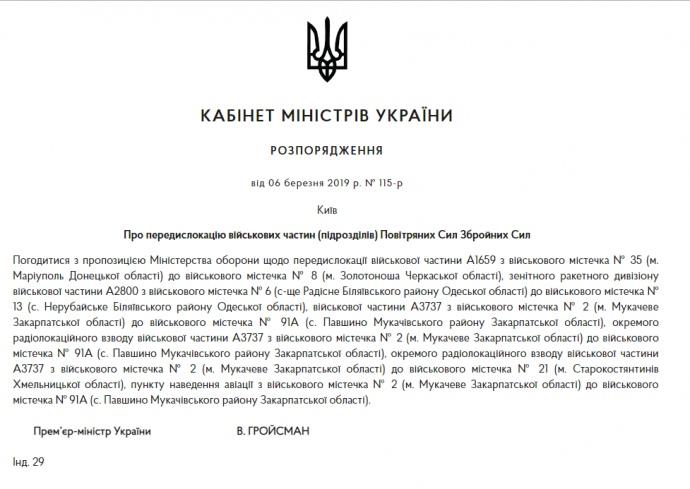 Уряд передислокував підрозділи Повітряних сил ЗСУ