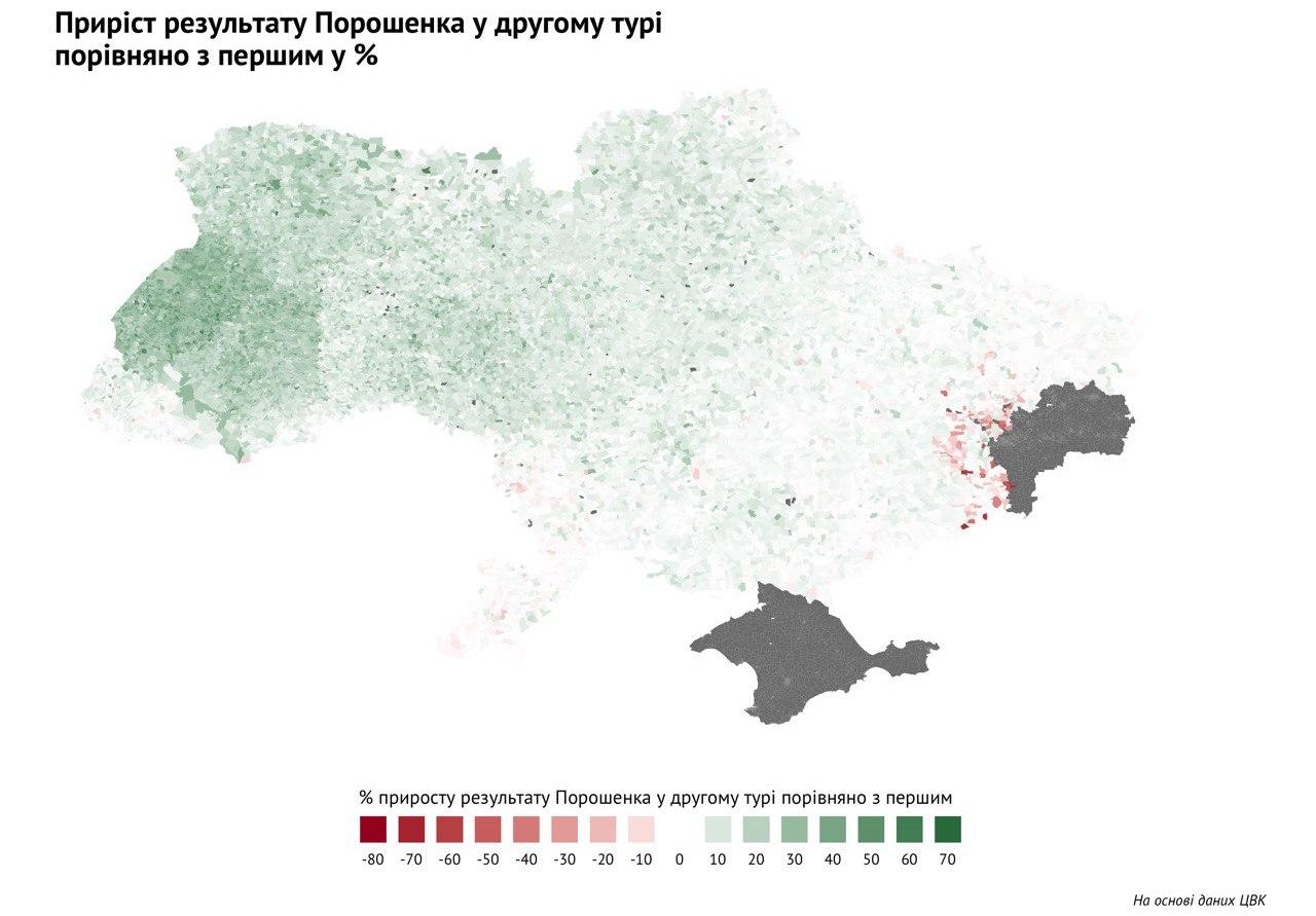Приріст результату Порошенка у другому турі вибори 2019 Донецька область