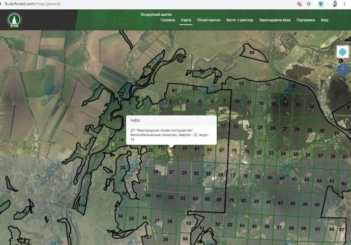 мапа лісових рубок