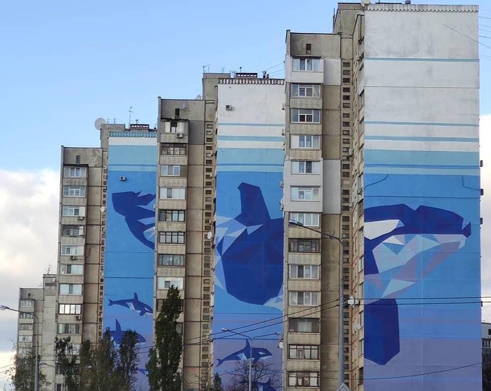 Nastia Hudiakova Serhii Kalnykov and Ksenia Kalmykova whales mural Kharkiv