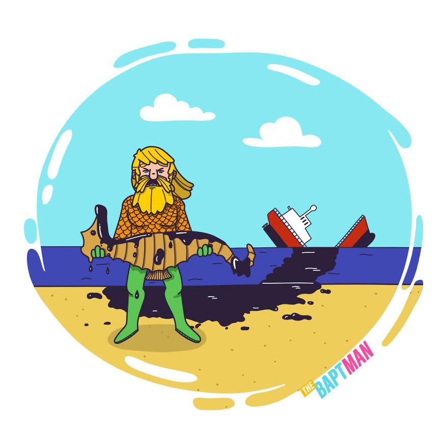 Аквамен и разлив нефти