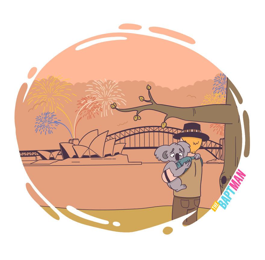Крокодил Данди, австралийский лесной пожар и Новый год
