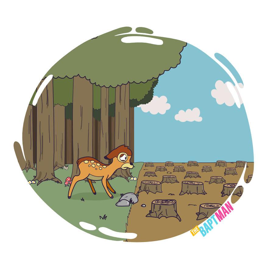 Бэмби и вырубка леса