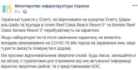 Українські туристи в Єгипті потрапили під карантин