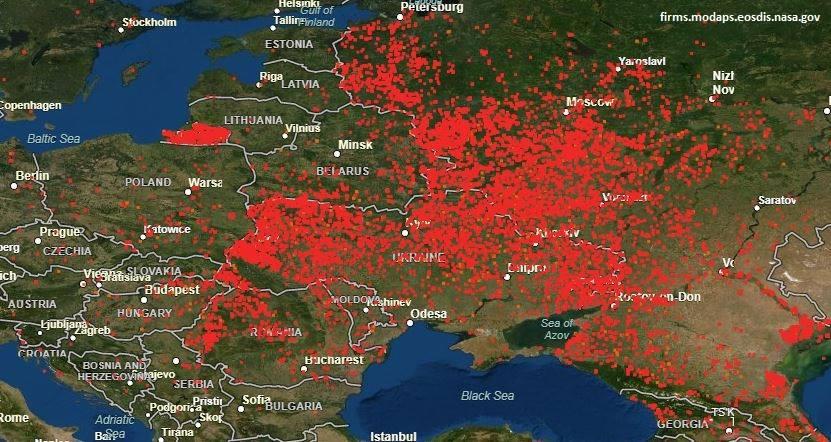 Україна горить – видно навіть з космосу