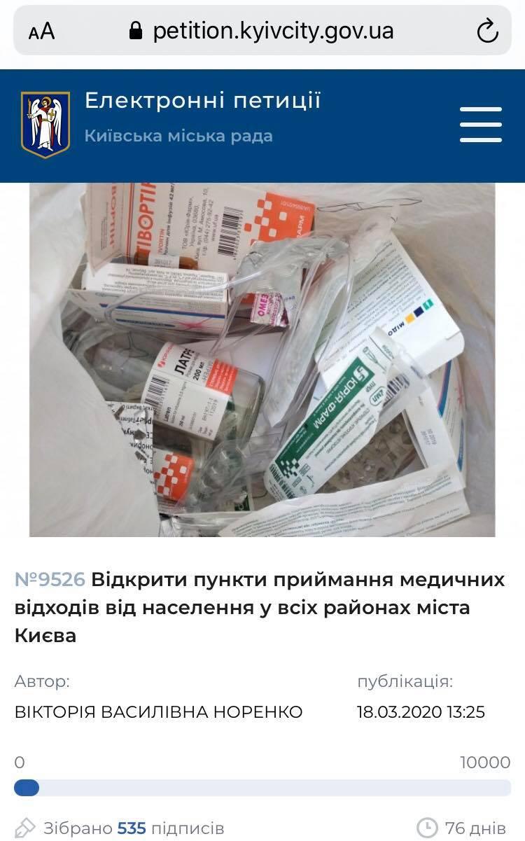 петиція медичні відходи