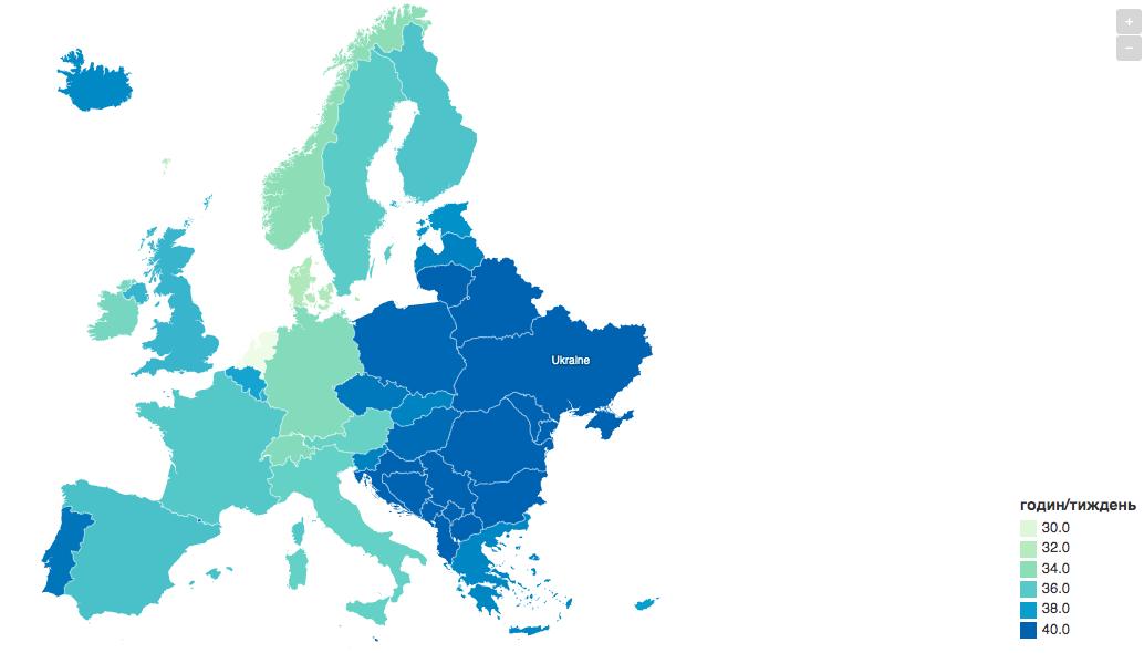 Кількість годин у робочому тижні в країнах Європи