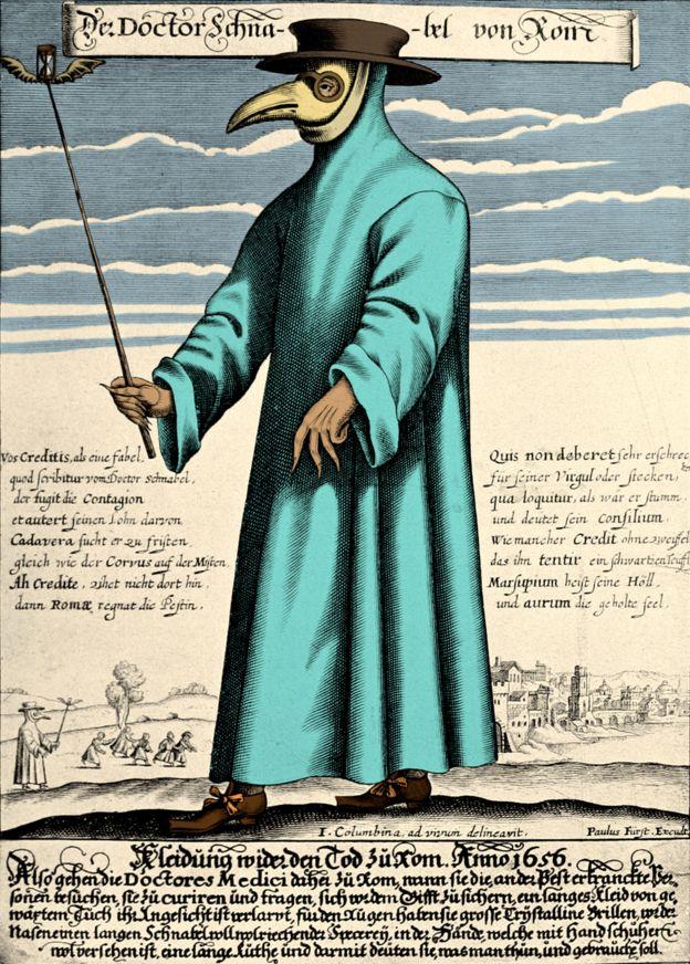 Чумний лікар в захисному костюмі. Гравюра 1656 року