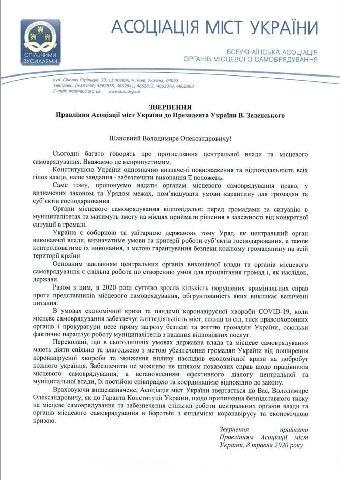 Асоціація міст України звернулася до Зеленського через тиск