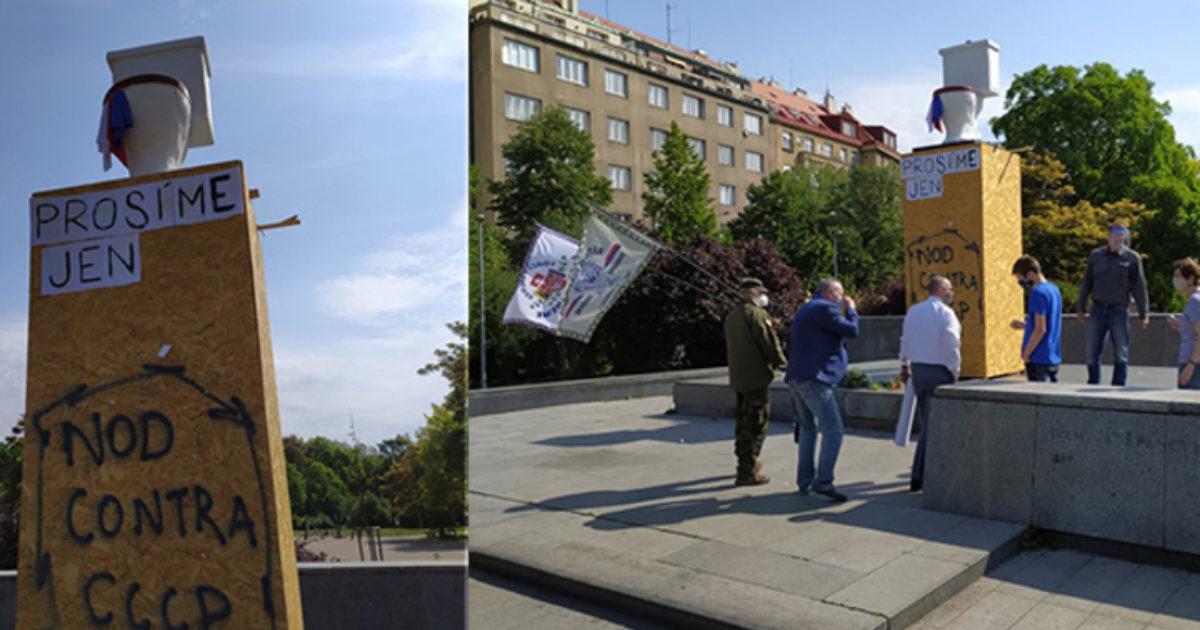 Ситуацию с памятником маршалу Коневу в Праге усугубили надругательством над постаментом скульптуры