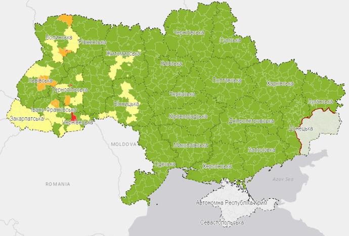 карта карантинні зони
