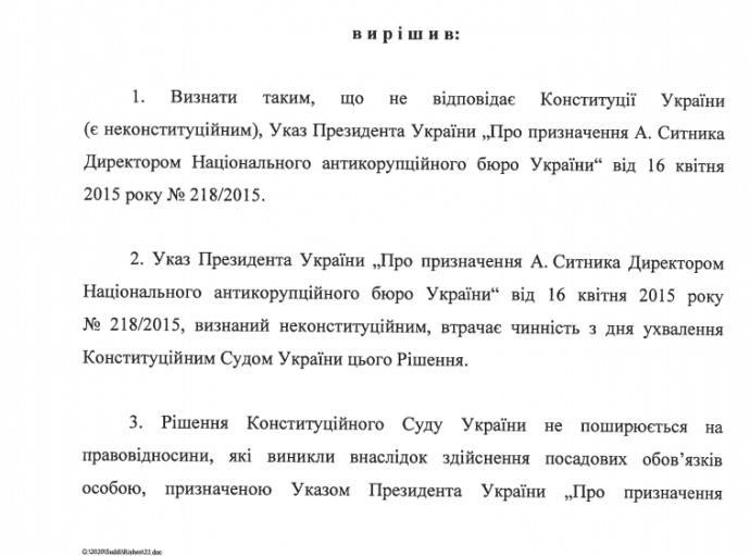 Конституционный суд опубликовал решение по Сытнику