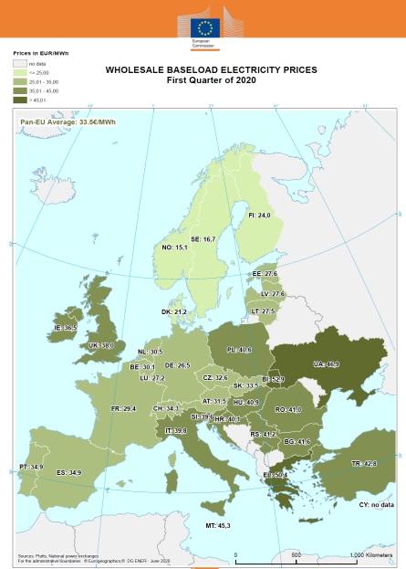 В Єврокомісії заявили, що ціна електроенергії в Україні на третину вища, ніж в ЄС