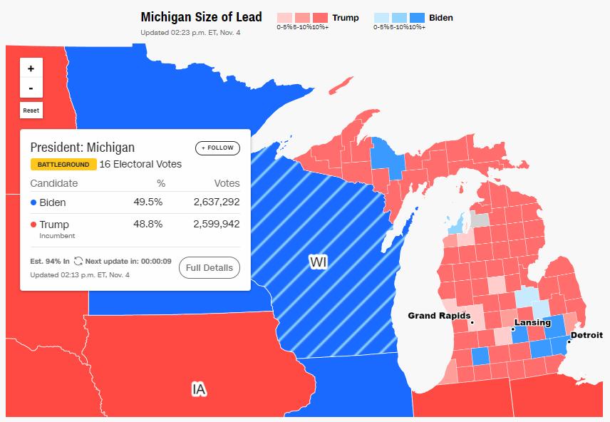 . Трамп просить суд зупинити підрахунок голосів у Мічигані
