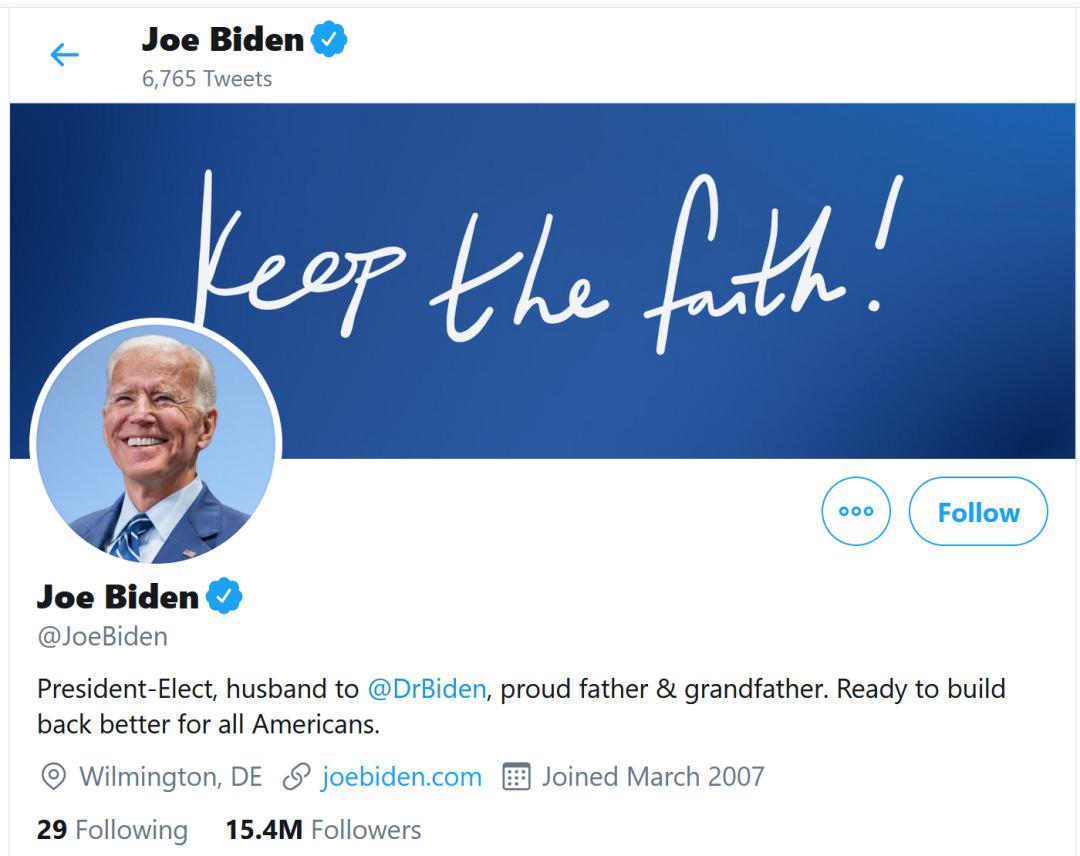 Байден і Гарріс іже змінили офіційні статуси у Twitter