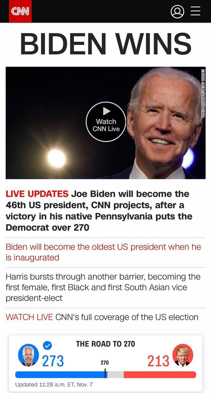 Байден виграв вибори в Пенсільванії, що робить його 46-м президентом США