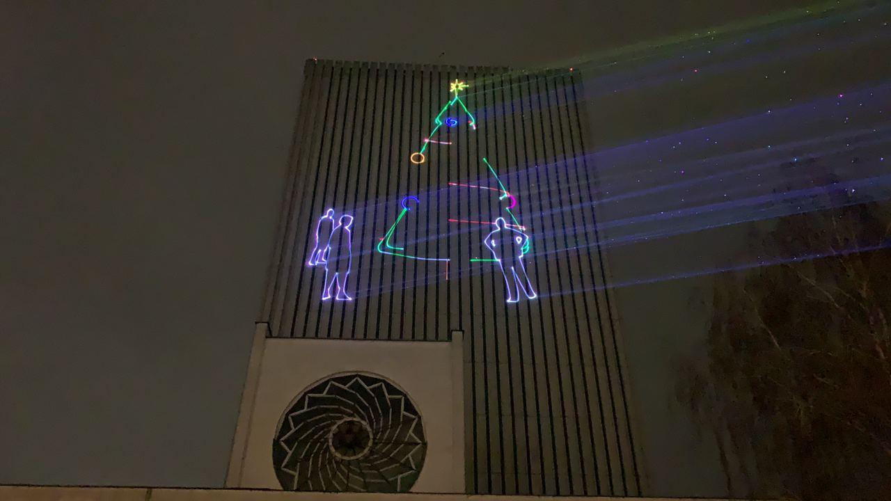 У Києві відбувся новорічний лазерний перформанс: фото