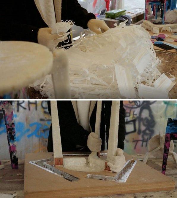 Дизайнер перетворив одноразові маски на стільці