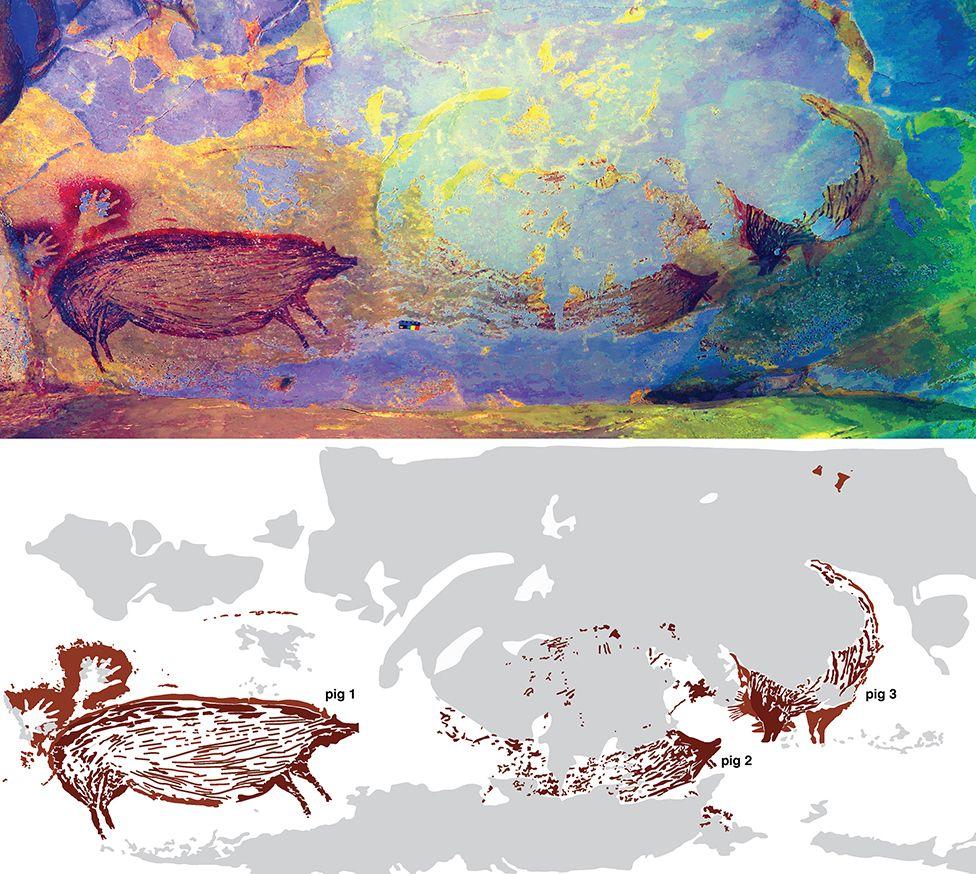 Наскельний малюнок із зображенням свині