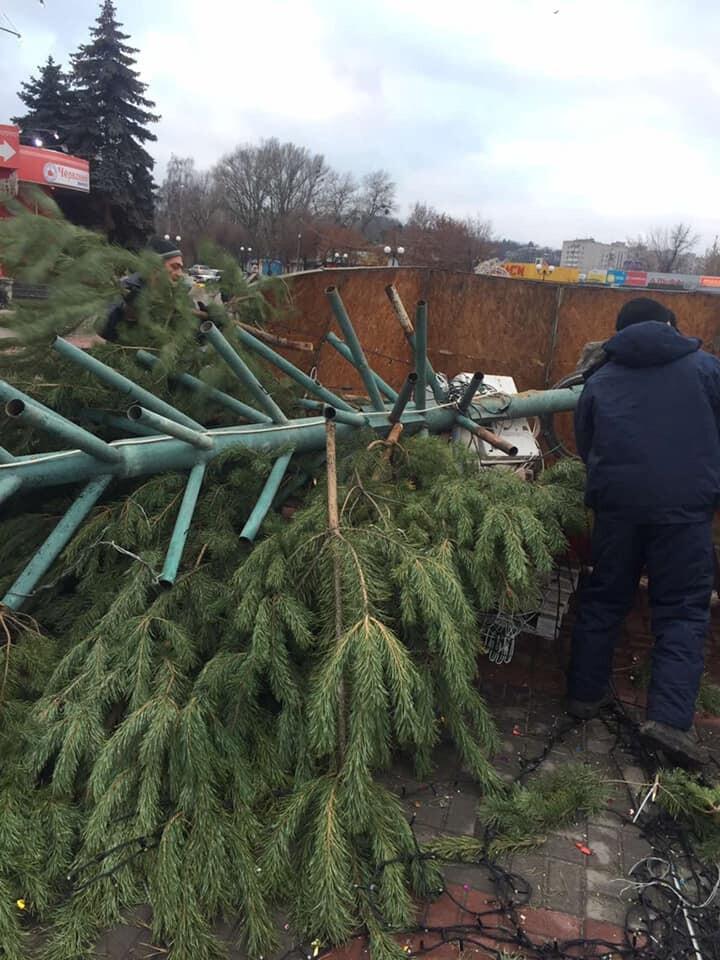 У Каневі на Черкащині впала головна новорічна ялинка