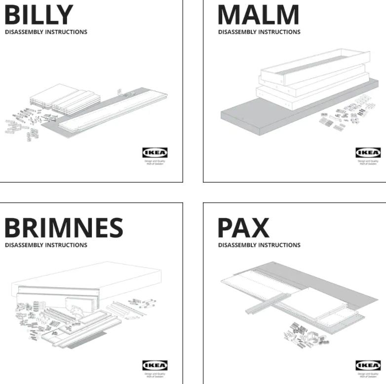 Схема розбирання меблів від IKEA