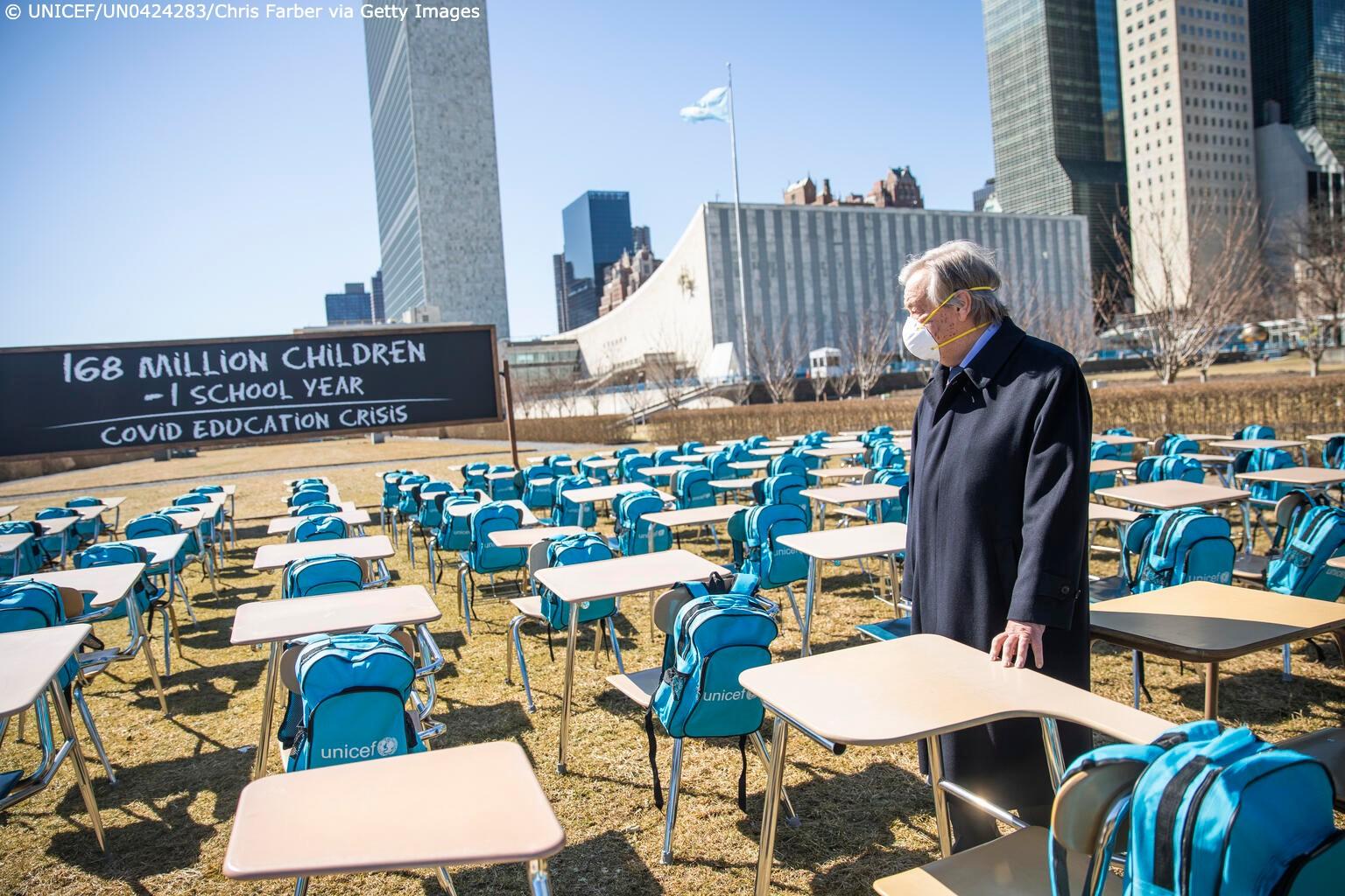 ООН встановила інсталяцію з 168 порожніх парт