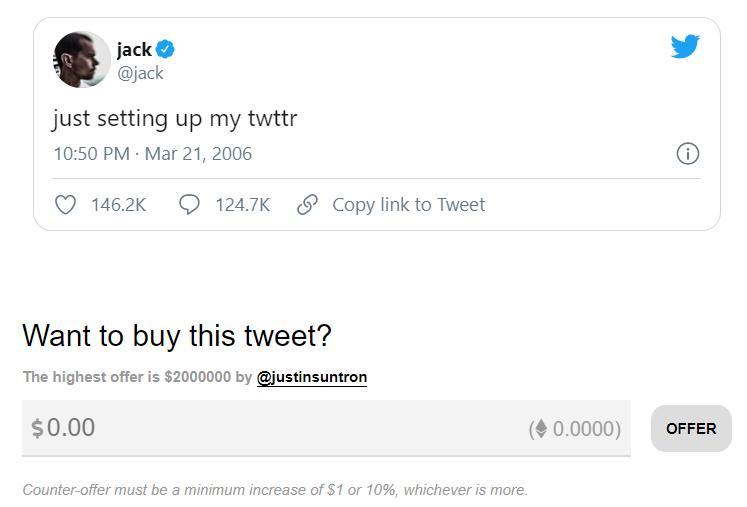 Засновник Twitter виставив на аукціон першу публікацію в соцмережі