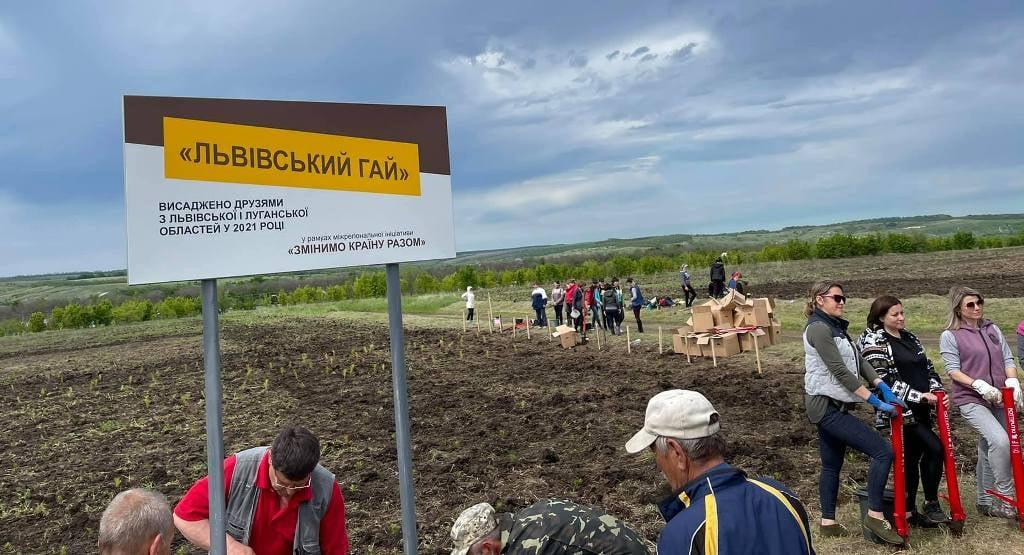 У постраждалому від пожеж районі Луганщини висадили майже 10 тисяч дерев