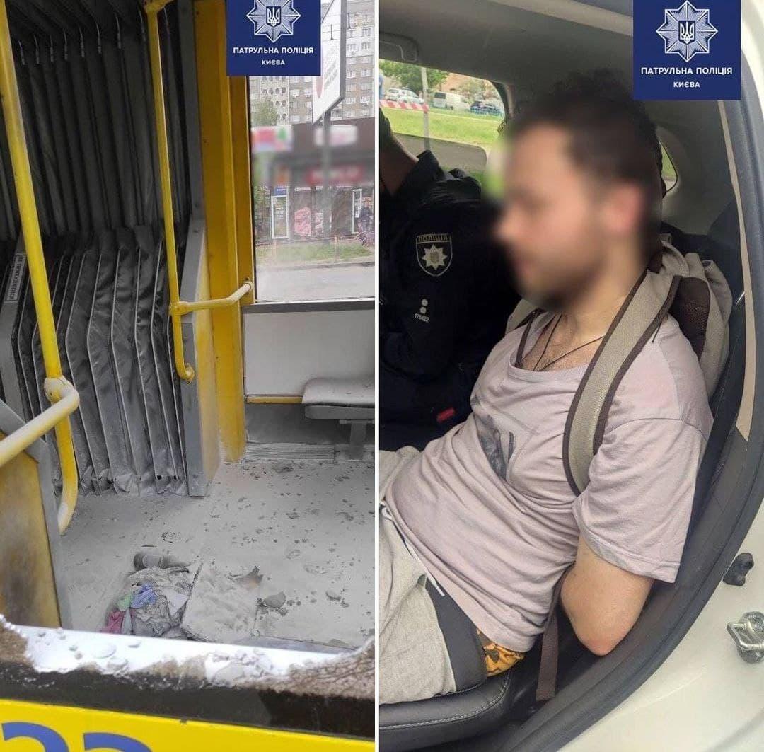 чоловік кинув пляшку у тролейбус